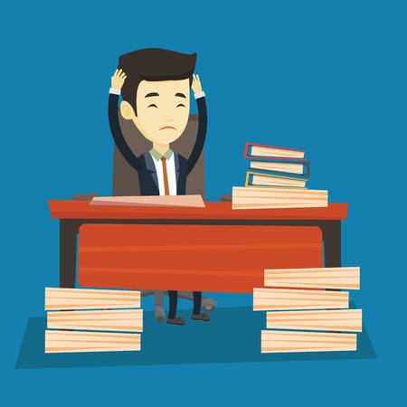 overload: Despair business man working in office. Illustration