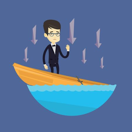 Business man standing in sinking boat. Ilustrace