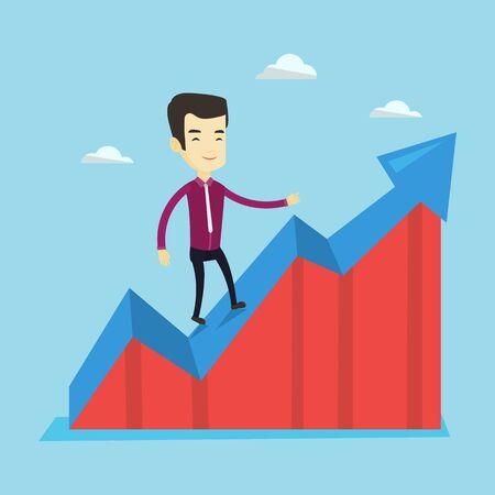 Business man standing on profit chart. Illustration