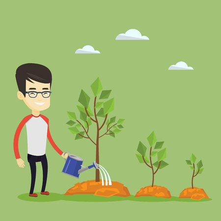 Business man watering trees vector illustration.