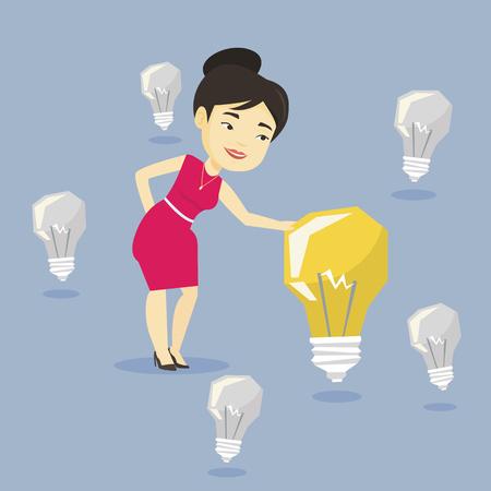 asian business: Asian businesswoman having business idea.