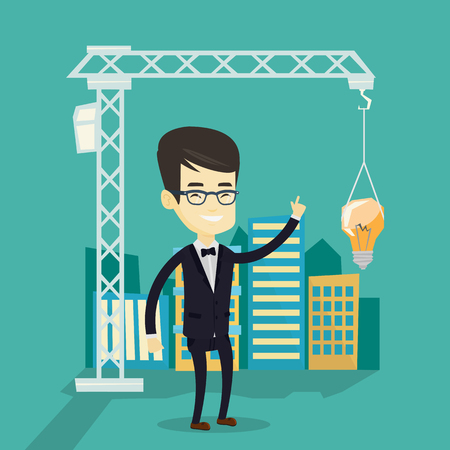 man pointing: Man pointing at idea bulb hanging on crane. Illustration