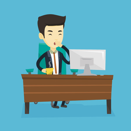 yawning: Tired employee yawning in office. Illustration
