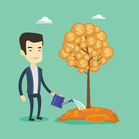 Man watering money tree vector illustration. 向量圖像
