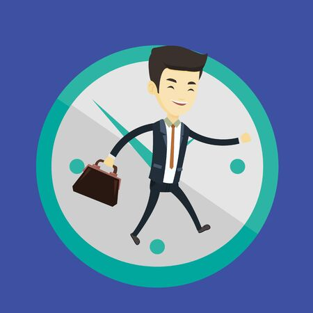 Business man running on clock background.