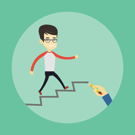 career ladder: Business man running up the career ladder. Illustration
