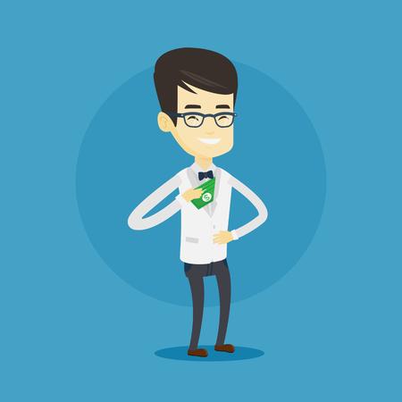 bribery: Business man putting money bribe in pocket.