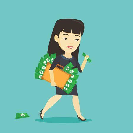 Femme d'affaires avec une mallette pleine d'argent.