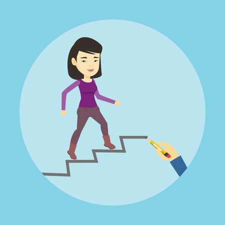 career up: Business woman running up the career ladder.
