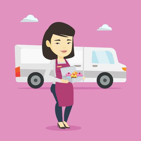 Delivery woman holding a box of cakes. Illusztráció
