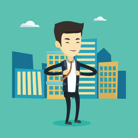 Business man opening his jacket like superhero. Illustration