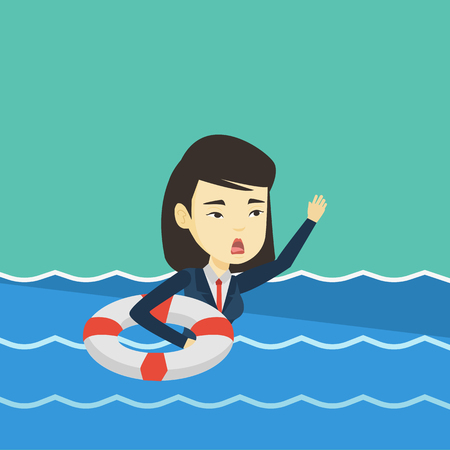 Business woman sinking and asking for help. Illustration