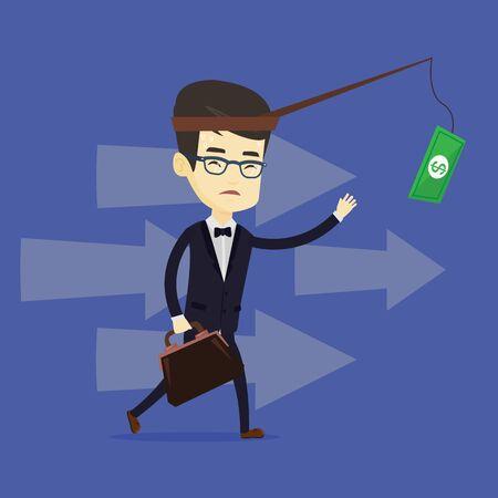 sweaty: Business man trying to catch money on fishing rod Illustration