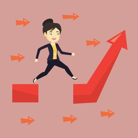 business obstacle: Business woman jumping over gap on arrow going up. Illustration