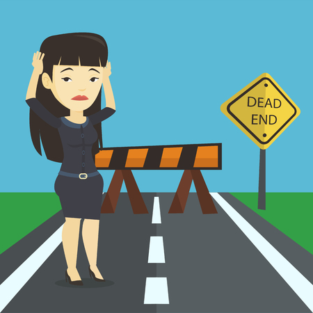 Business woman looking at road sign dead end. Stock Illustratie