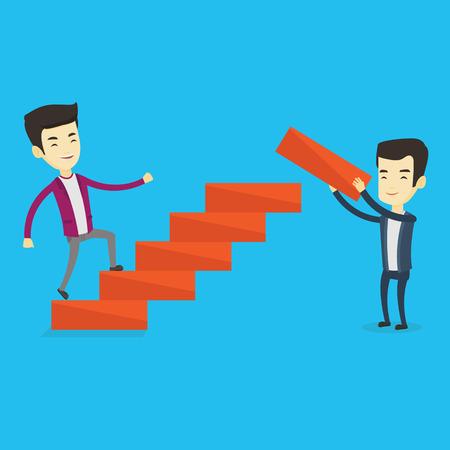 Business man runs up the career ladder. Illustration
