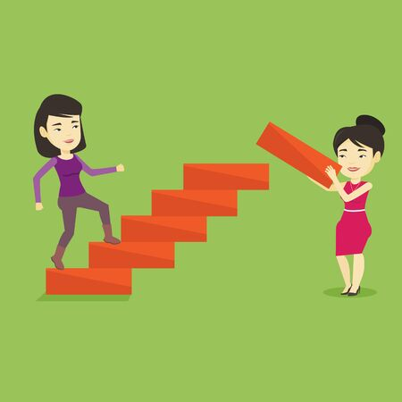 career ladder: Business woman runs up the career ladder. Illustration