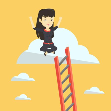 Happy business woman sitting on the cloud. Illustration