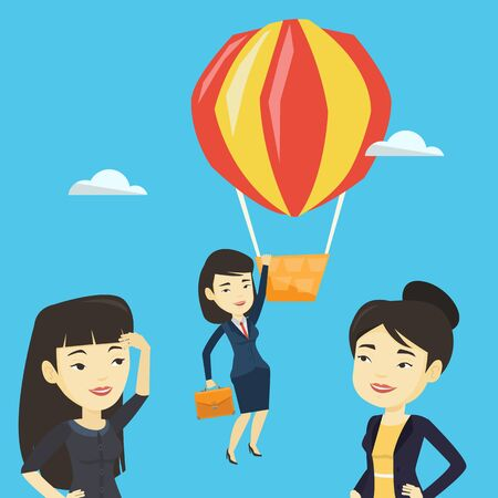 Business woman hanging on balloon.