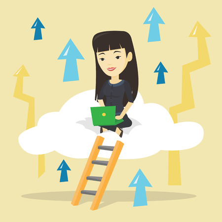 woman laptop: Business woman sitting on cloud with laptop. Illustration