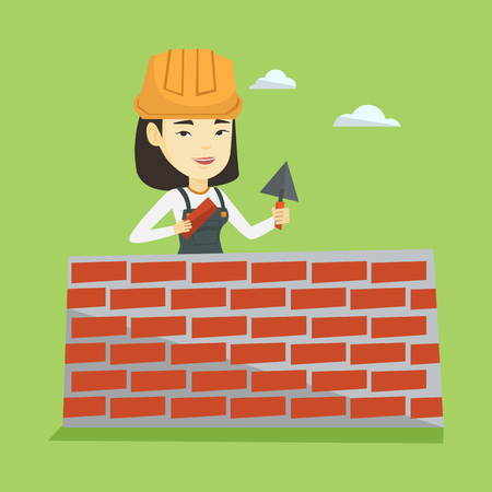 Bricklayer working with spatula and brick. Illustration