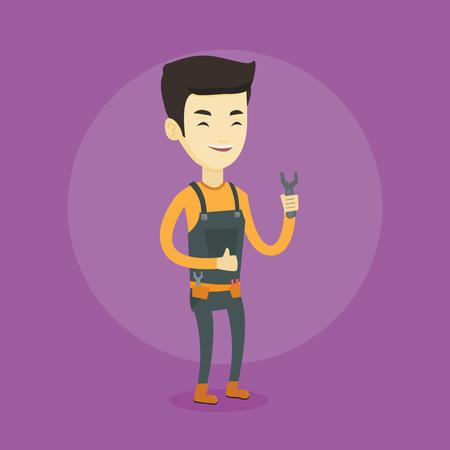 Repairman holding spanner vector illustration. Stock Illustratie