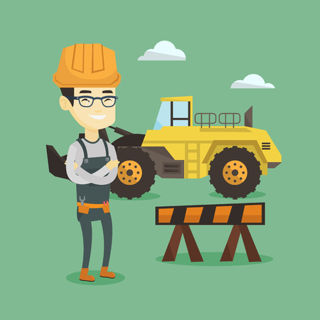 Confident builder with arms crossed. Banco de Imagens - 71718086