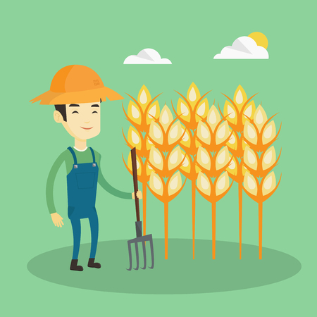 wheat field: Happy asian farmer in summer hat standing with a pitchfork on the background of wheat field. Smiling farmer working with pitchfork in wheat field. Vector flat design illustration. Square layout.