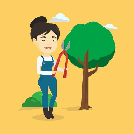 prune: Farmer with pruner in garden vector illustration. Illustration