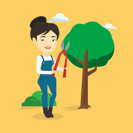 Farmer with pruner in garden vector illustration. Illustration