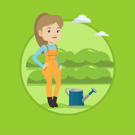 農家緑の茂みで農業分野のバック グラウンドの水まき缶近くに立っています。女性は庭の植物に水をまきます。ベクター背景に分離されたサークル  イラスト・ベクター素材