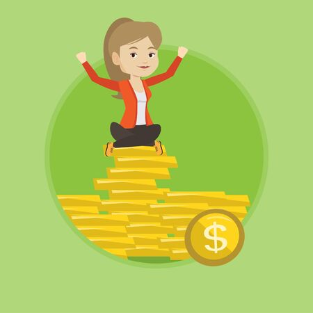 golden coins: Happy business woman sitting on golden coins.
