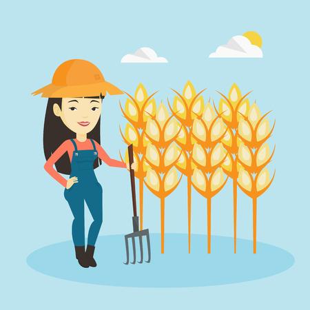 pitchfork: Farmer with pitchfork vector illustration.