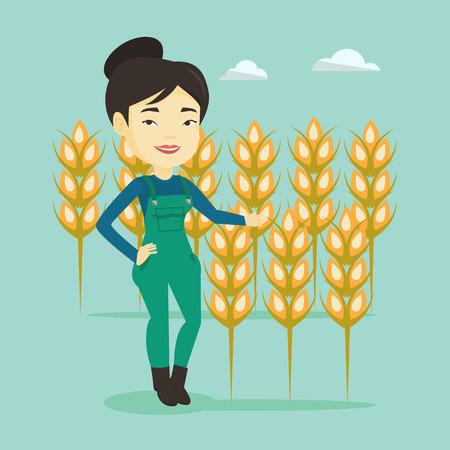 labourer: Farmer in wheat field vector illustration.