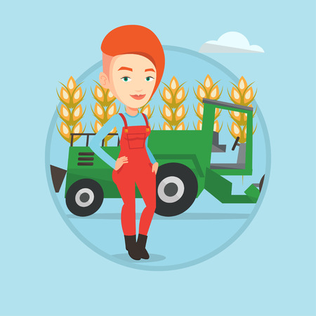 Caucasian farmer standing on the background of combine harvester working in field. Farmer and combine harvester harvesting wheat. Vector flat design illustration in the circle isolated on background. Illustration