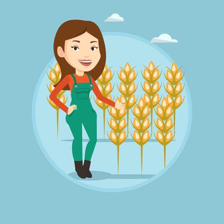 Farmer in wheat field vector illustration.