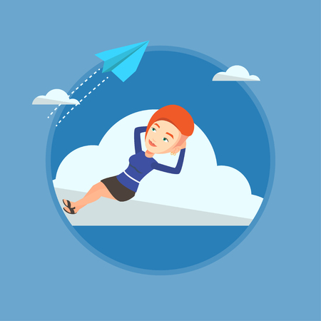 Business woman lying on cloud vector illustration. Illustration