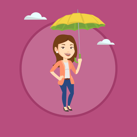 Caucasian insurance agent. Insurance agent standing safely under umbrella. Business insurance and business protection concept. Vector flat design illustration in the circle isolated on background.