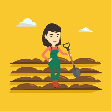 plow: Farmer with shovel at field vector illustration.