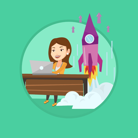 Businesswoman working on laptop on business start up and business start up rocket taking off behind her. Business start up concept. Vector flat design illustration in the circle isolated on background Illustration