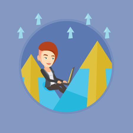 business woman laptop: Caucasian business woman working on a laptop on the mountain. Business woman sitting on the top of the mountain and using laptop. Vector flat design illustration in the circle isolated on background.