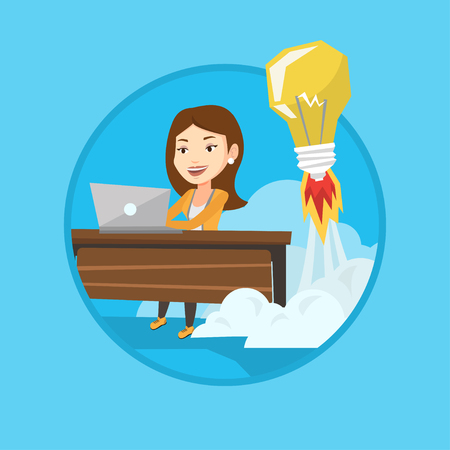Business woman working on laptop in office and idea bulb taking off behind her. Woman having business idea. Business idea concept. Vector flat design illustration in the circle isolated on background.