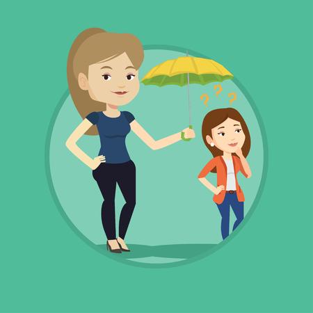 insure: Businesswoman holding umbrella over woman.