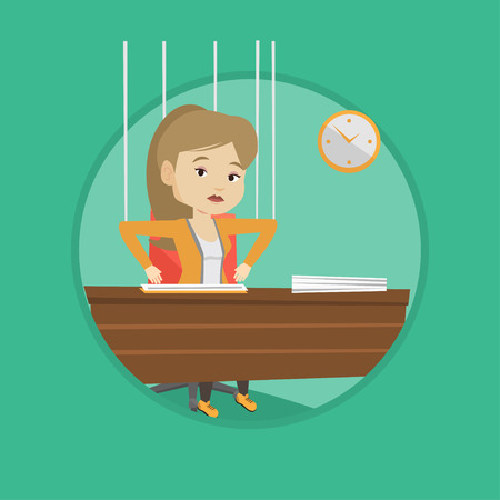 manipulated: Business woman marionette on ropes working. Illustration