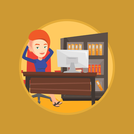 recline: Satisfied business woman sitting at workplace in office. Business woman relaxing in the office with her hands clasped behind head. Vector flat design illustration in the circle isolated on background.