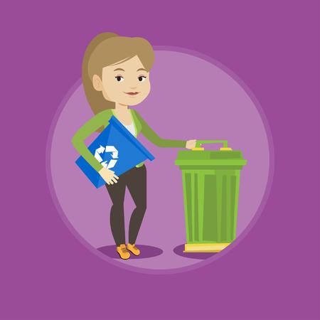 papelera de reciclaje: Woman with recycle bin and trash can.