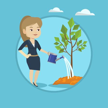 Woman watering tree vector illustration.