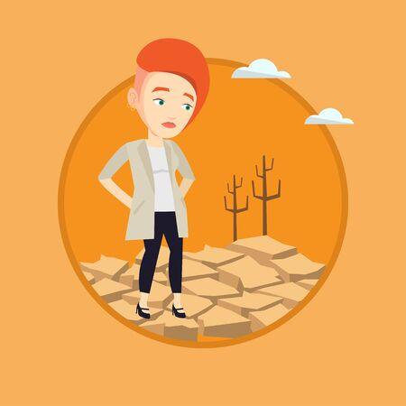 Sad woman in the desert vector illustration.