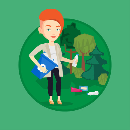 Woman collecting garbage in forest. Illustration