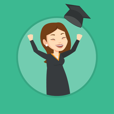 Graduate throwing up graduation hat. Ilustrace